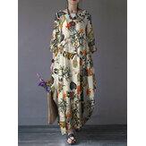 Cepli Kadın Pamuklu Çiçekli Baskılı Vintage 3/4 Kol Baggy Maxi Elbiseler