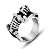 Halloween Punk Titanium Steel Skull Ring Squelette Bone Men Ring Jewelry