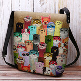 Women Felt Cute Cartoon Colorful Moles Pattern Multi-carry Crossbody Bag Shoulder Bag