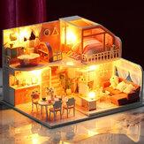 IIE CREATE K056ハーフサマータイムテーマDIYドールハウスモデルライト、ダストカバー、家具付きの組み立てられたおもちゃ