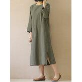 Dames Vintage 3/4 mouw Split Casual effen halflange jurk