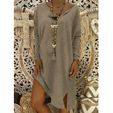 Women Autumn Pure Color V-neck Long Sleeve Split Dress