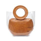 المرأة حقيبة نمط تمساح واضحة 2 قطعة حقيبة يد