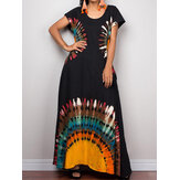 Retro Ethnic Style Bohemian Holiday Short Sleeve Loose Casual Maxi Dress