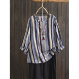 Plus Size Women Vintage Puff Sleeve Stripe Blouse
