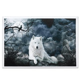 White Wolf Stone Canvas Wall Paintings Frameless Pictures Art Home Decor