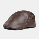 Men Genuine Leather Retro Outdoor Casual Solid Color Forward Hat Beret Hat