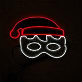 クリスマスELグローイングマスクバースデーパーティーホリデーダンスパーティーLEDコールドライト点滅マスクパーティー応援小道具