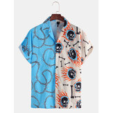 Mens Fashion Skull Chain Pattern Printed Patchwork Casual Short Sleeve Shirts
