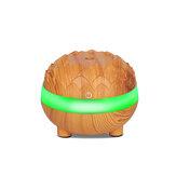 Umidificador de ar ultra-sônico de grão de madeira 300 ml silencioso Purificador de ar essencial Óleo Difusor com 7 cores LED luzes