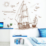 47''x35 '' Grande nave pirata Vela Adesivo da parete Vinile PVC Decal Home Art Decor