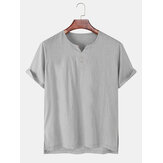 Mens Solid Color Flax V-Neck Light Casual Short Sleeve T-Shirts