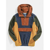 Original              Mens Designer Patchwork Corduroy Half Button Pullover Hoodies
