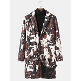 Mens Abstract Printing Mid-Length Single-Breasted Trench Coats