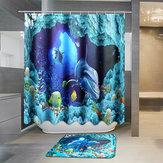 180×180センチメートルブルードルフィン深海防水浴室のシャワーカーテン付き12フック