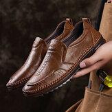 Sapatos executivos casuais vintage de couro de couro respirável antiderrapante respirável