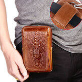 Men Genuine Leather Retro 6 Inch Phone Bag Waist Bag With Belt Loop