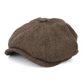 Collrown Men Visor Woolen Blending Newsboy Beret Caps Outdoor Casual Winter Cabbie Ivy Flat Hat