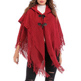 Women Elegant Hooded Fringed Knitted Cloak Cardigans Coats