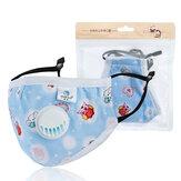 Gezichtsmasker voor kinderen PM2.5 Aanpassing voor kinderen Stofdicht Hazeproof Winddicht Ademend ventiel met vervangbaar filter Lichaamsgezondheid Mondmasker
