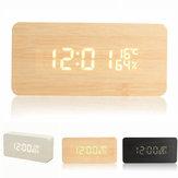 USB Control de Voz Madera Rectángulo de madera Temperatura LED Digital Alarma Reloj Humedad Termómetro