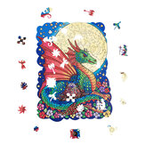 A4 Wooden Moon Dragon Jigsaw Puzzle DIY Unique Shape Pieces Animal Gift Mysterious Early Education Toys for Childrens Adults Kids