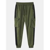 Flap Pocket ile Erkek Yan Şerit Pamuk Rahat İpli Kiriş Ayakları Pantolon