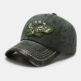 Erkekler Pamuk Retro Denim Eagle Nakış Desen Güneşlik Rahat Baba Şapka Beyzbol Şapka
