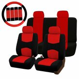 Universal Car Seat Covers Protector Full Set Steel Ring Cover da roda Cinto Pad Red Black