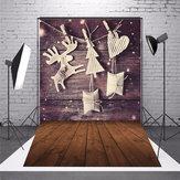 5 x 7 FT Christmas Theme Christmas Gift Ełk Wood Board Photo Vinyl Background