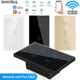 SMATRUL DS102 Tuya Touch WiFi Διακόπτης τοίχου 1/2/3/4 Way Smart Life Voice Countdown Timer For Smart Home Συμβατό με Tuya APP Alexa Google Home