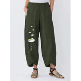 Women Flower Print Cotton Elastic Waist Casual Loose Pants