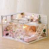 3D Woodcraft DIY Assembly Creative Doll House Kit Decoration Toy with LED Light for Kids Gift