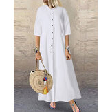 Mujer Casual Solid Long Button Down Camisa Split Kaftan Vestido