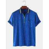 Мужские передние карманы на молнии с коротким рукавом Lesure Sport Рубашки для гольфа