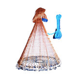YEUX 1.5M/2.1M Cast Net Easy Throw Catch Fishing Net Outdoor Hunting Hand Throw Network Small Mesh Fish Trap Network Ring Throwing a Cast Net From
