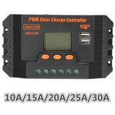 LCD 10/15/20/25/30A 12V/24V PWM Solar Panel Regulator Charge Controller