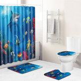 Badezimmer rutschfeste europäische Marine Starfish Dekoration Stil Dekoration Basis Teppichdeckel Toilettendeckel Badezimmermatte Duschvorhang