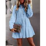Women Solid Color Small Stand-up Collar Long Sleeve A-line Doll Skirt