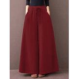 Femmes couleur unie cordon taille lâche pantalon large quotidien avec poches
