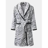 Erkek Kış Kalın Zebra Flanel Polar Ev Tekstili Salonu Bağcıklı Robe Cepli