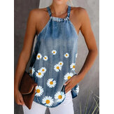 Daisy Floral Print Halter Mujer Casual Denim Tank Tops