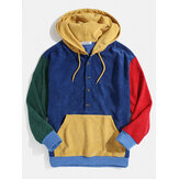 Herren Cord Colorblock Patchwork Half Button Pouch Pocket Drawstring Hoodies