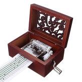 15 Tone DIY Hand Cranked Carved Music Box Classic Pudełko z dziurkaczem 30 sztuk Taśmy papierowe