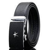 125-130CM Fashion Men Business Leather Belt Star Pattern Automatic Buckle Belt