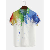 Hommes Splash Ink Aquarelle Imprimer manches courtes Beach Party Business Casual Shirts