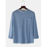Cotton Letter Embroidery Pocket Long Sleeve Casual T-Shirts