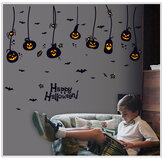 Halloween Waterproof PVC Wall Stickers Gothic Pumpkin Lantern Witch Pattern DIY Home Nursery Kid Room Decoration