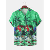 Mens Parrot Coco Árvore Paisagem Print Button Up Hawaii Holiday Shirts