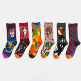 Unisex British Style Retro Couple Patchwork Color Personality Tube Socks